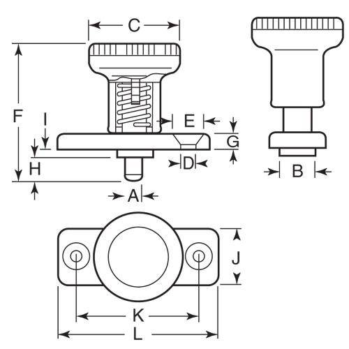 Diagram - Plungers - Indexing - Locking - With Mounting Plate - Steel