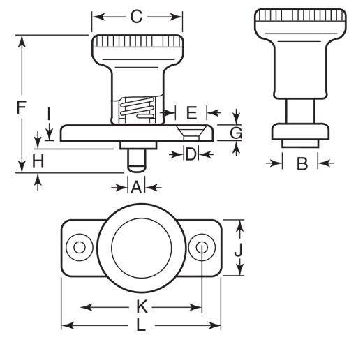 Diagram - Plungers - Indexing - Non Locking - With Mounting Plate - Steel