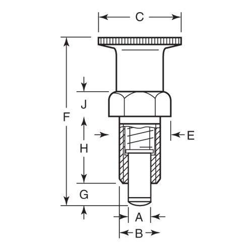 Diagram - Plungers - Indexing - Locking - With Shoulder - Steel