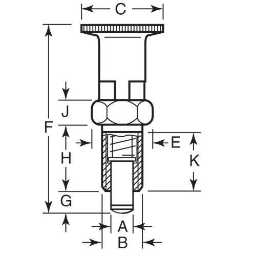Diagram - Plungers - Indexing - Locking - With Shoulder - Stainless Steel