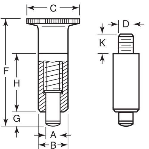 Diagram - Plungers - Indexing - Unthreaded - Non Locking - Steel - With Knob