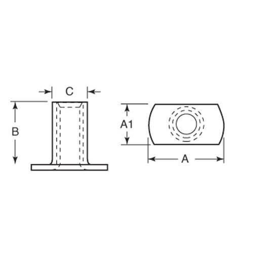 Diagram - Nuts - Hexagonal - Weld - Steel